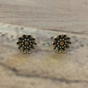 Pandora Daisy Flower Earring Studs Silver and Gold